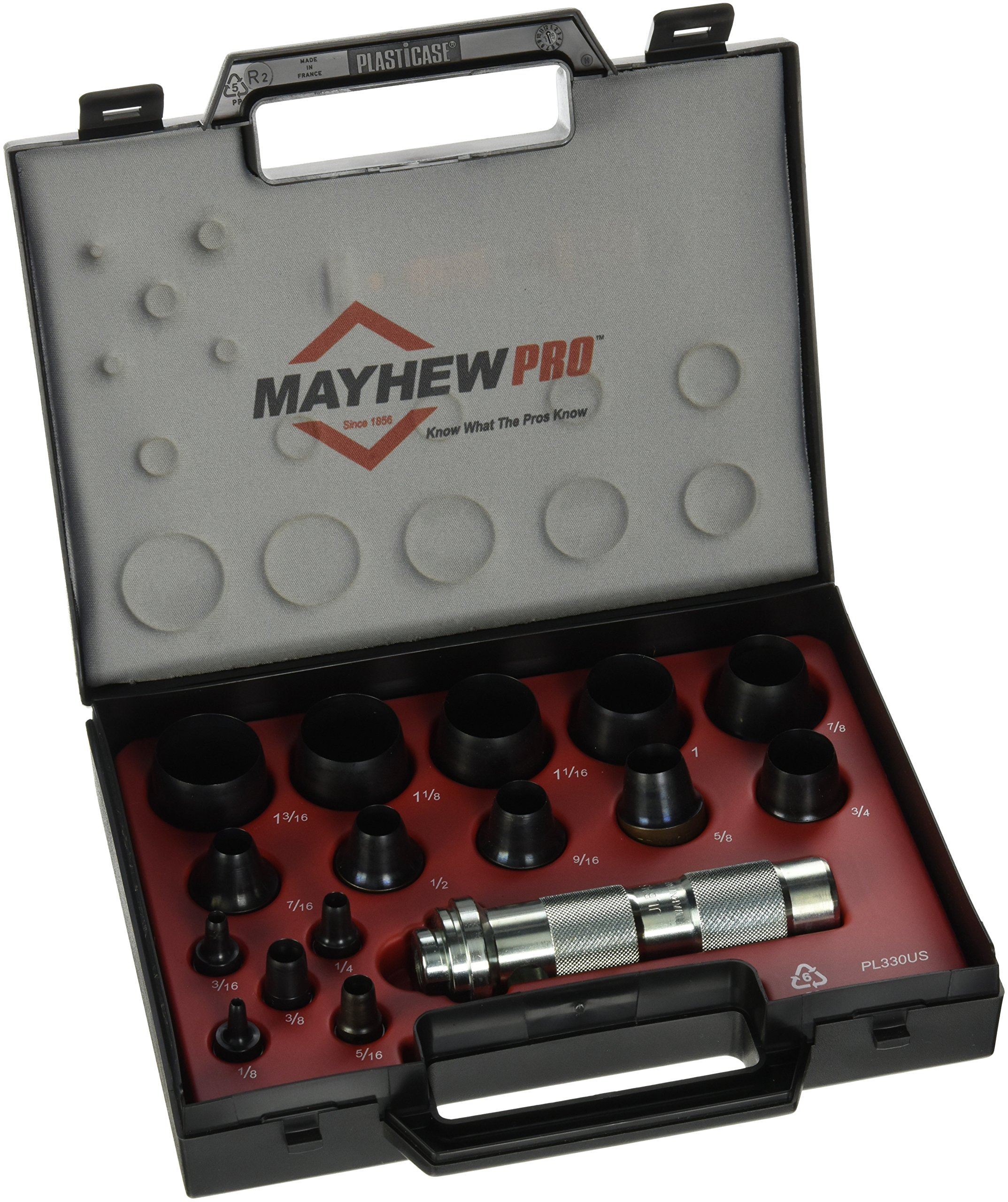 Mayhew Pro 66000 1/8-Inch to 1-3/16-Inch Imperial SAE Hollow Punch Set, 16-Piece
