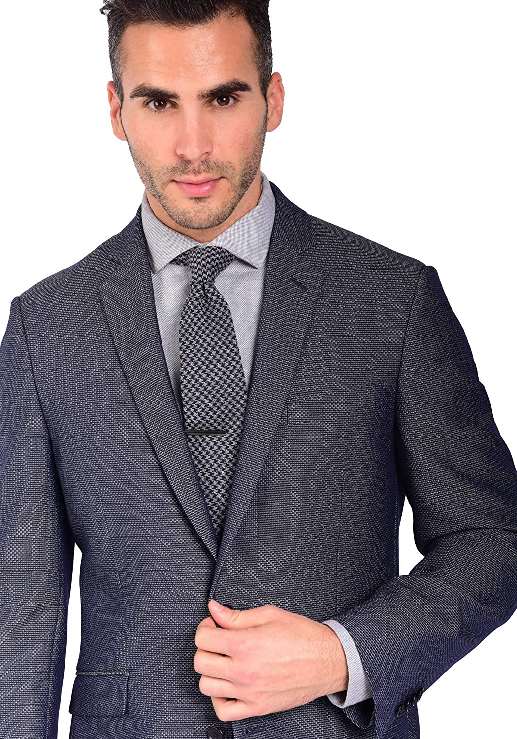 Craft /& Soul Mens Slim Fit Stretch Textured Blue Fancy Blazer Jacket Sport Coat