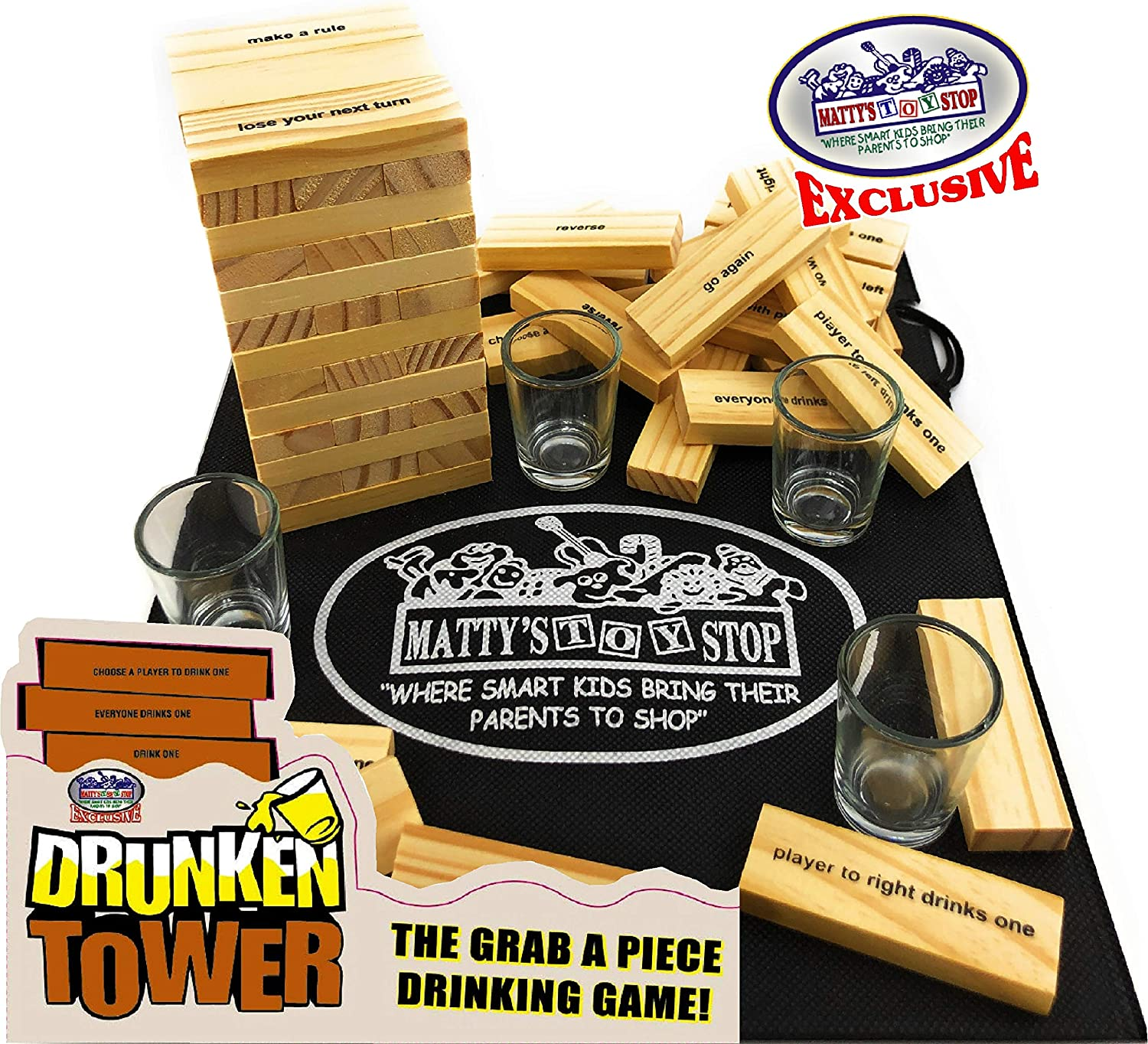 Homeware Deluxe Drunken Tower The Grab A Piece Drinking Game with Exclusive Matty's Toy Stop Storage Bag