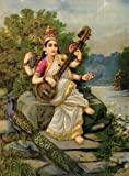 Tallenge Saraswati By Raja Ravi Varma - Mythology Collection - Small Size Unframed A3 Size Poster (12 Inches X 17 Inches)