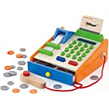 Top Race 30 Piece Wooden Toy Cash Register, Solid Wood Cash Register with US Coins, Scanner, and Credit Card, Grocery Role Play Set