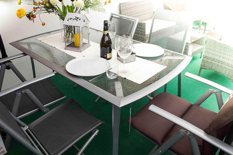 Parma AVANTI TRENDSTORE Dimensioni: Lap 150x71x90 cm Tavolo da Giardino con Telaio in Metallo e Piano in Vetro