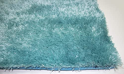 LA Shag Shaggy Rectangular Large Fluffy Plush Fuzzy Solid Furry Floor Soft Pile Scatter Solid Plush 8-Feet-by-10-Feet Polyester Made Area Rug Carpet Rug Turquoise Blue Color