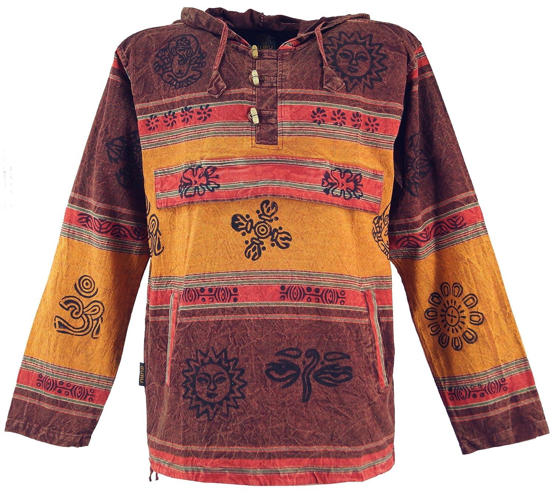 GURU-SHOP, Camisa con Capucha Goa, Sudadera con Capucha Baja Nepalhoodie, Algodón, Sudaderas Sudaderas con Capucha
