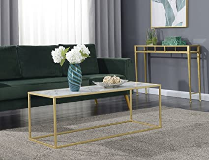 Convenience Concepts 413472WMG Coffee Table White Faux Marble Gold Frame