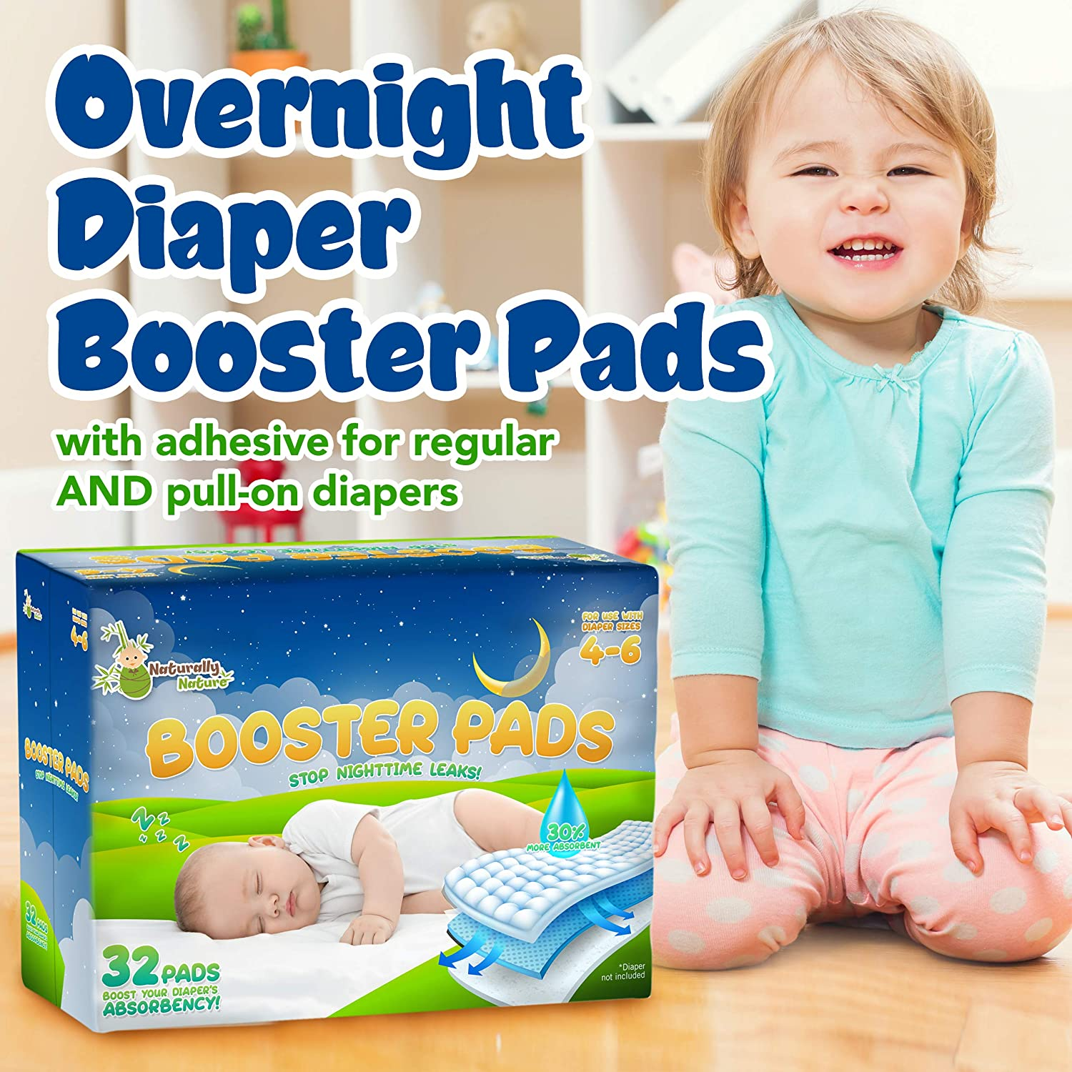 Nighttime Leak Protection for Heavy Wetters and Active Sleepers for Boys /& Girls Naturally Nature Overnight Diaper Doubler Booster Pads with Adhesive for Pull-on /& Regular Diapers