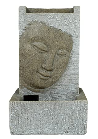 Brunnen Buddha Zimmerbrunnen Mit LED Wohnung Entspannung Dekoration Sandstein Optik Luftbefeuchtung Deko Wohnzimmer