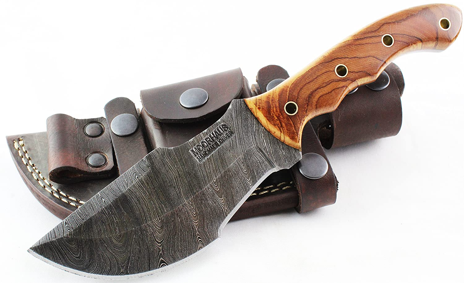 Moorhaus Handmade Custom Firestorm Damascus Olive Wood Tracker Knife