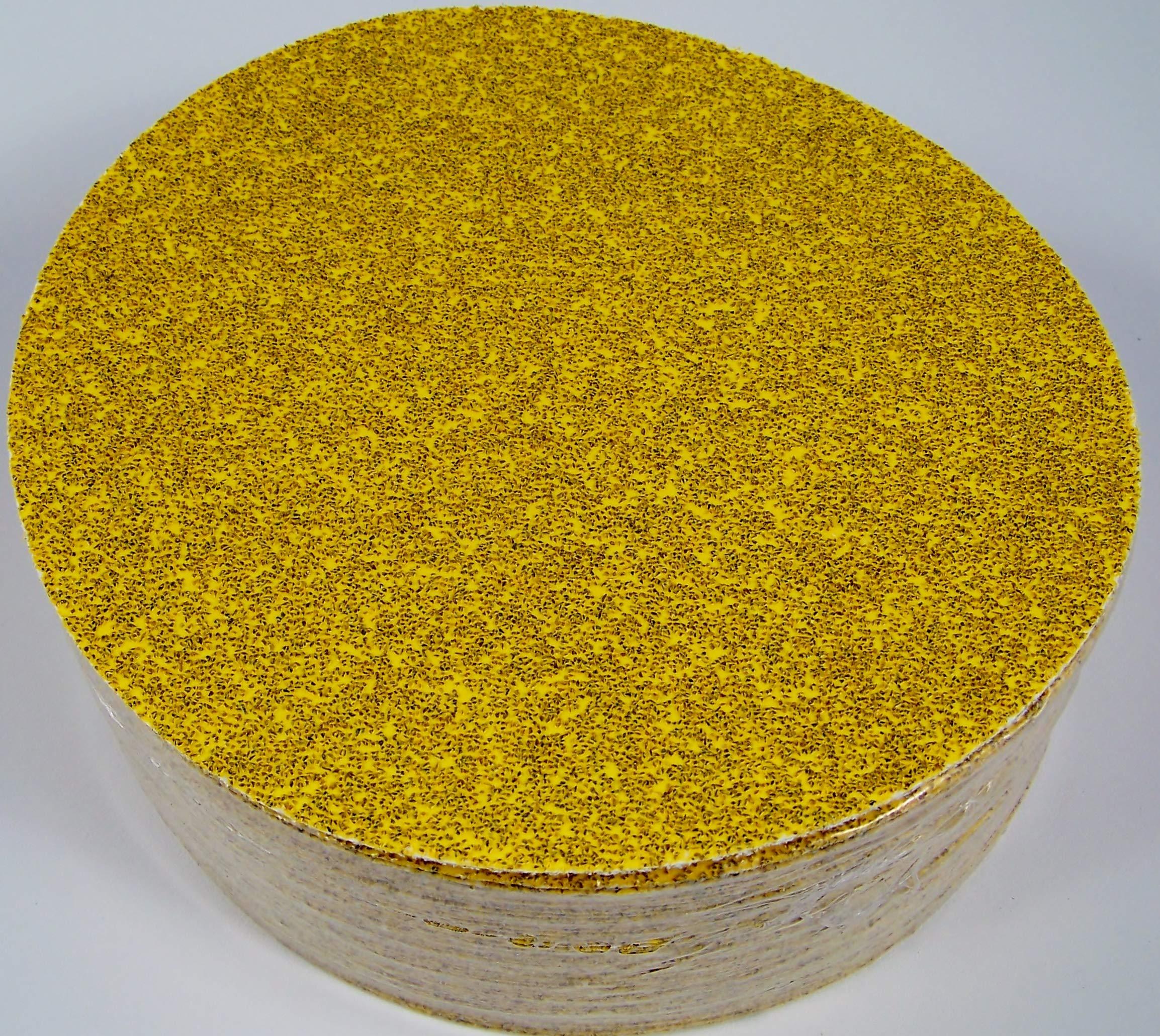 50pc 8'' PSA Stick On Sandpaper DISC 36 GRIT Aluminum Oxide GoldLine P36E USA