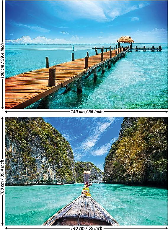 Amazon Com Great Art Set Of 2 Xxl Posters Boat Pier Sea Bay Berth Coast Ocean Beach Summer Thailand Longboat Tropical Sun Wall Picture Decoration Photo Poster 140 X 100cm