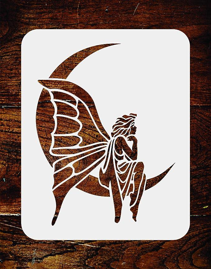 con texto en ingl/ésHada y luna seta de /ángel dise/ño de hada Juego de plantillas para manualidades luna FangWWW