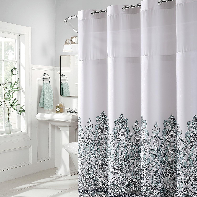 Hookless Damask Border Print Shower Curtain Home Kitchen