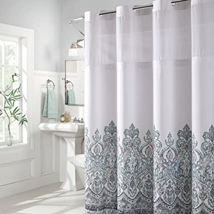 Hookless Damask Border Print Shower Curtain With PEVA Blue Grey
