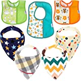 Baby Bandana Drool Bibs – 7 Pack Super Soft & Absorbent Set for Teething and Drooling – Hypoallergenic,100% Organic Cotton, Unisex Bundle – Newborn Shower Gift for Boys & Girls
