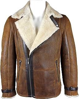 33574c36436 Unicorn London Unicorn Mens Crossed Zipper Coat Antique Brown and Cream -  Real Leather Jacket #