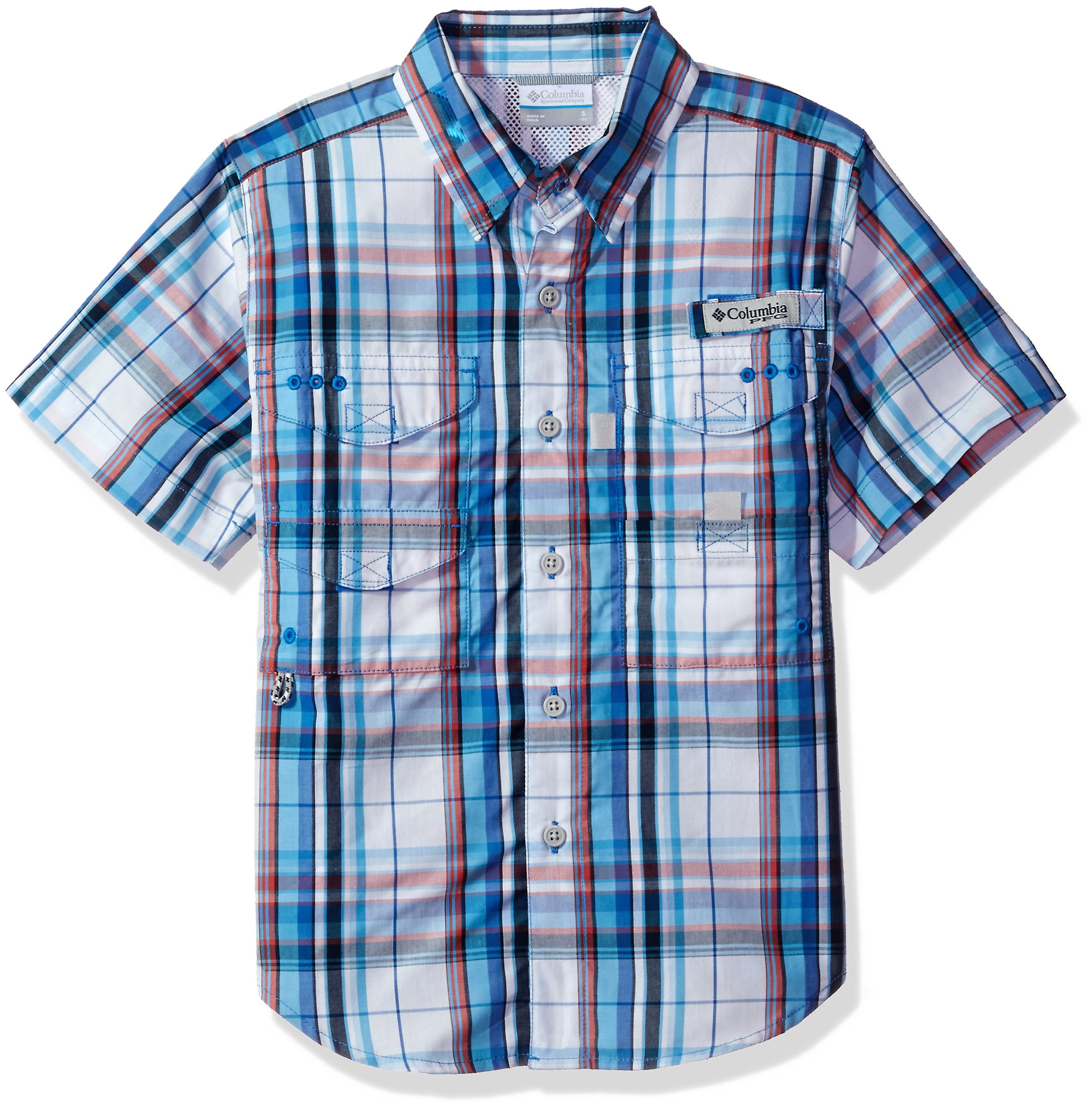 Columbia Youth Boys Super Bonehead Short Sleeve Shirt, Vivid Blue Plaid, Small