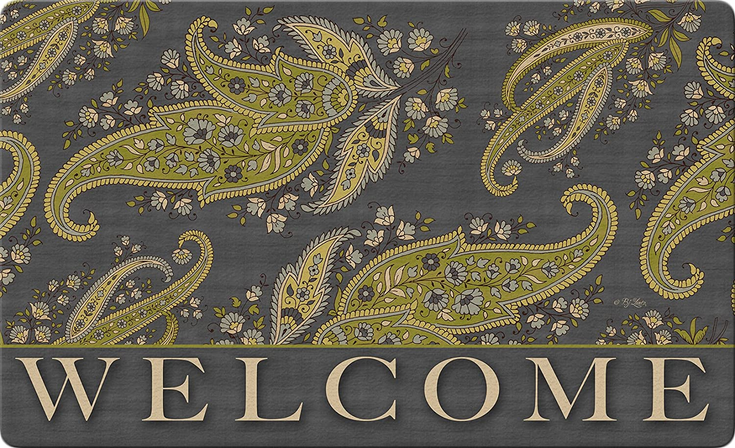"""Welcome 18/"""" x 30/""""  Recycled Mat USA Produced Toland Home Garden 830380 Gray Stained Paisley"""