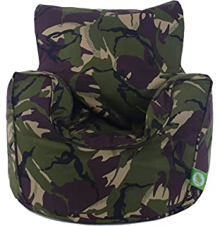 Cotton Army Camo Camouflage Green Bean Bag Gaming Arm Chair With Beans Child Teen Size