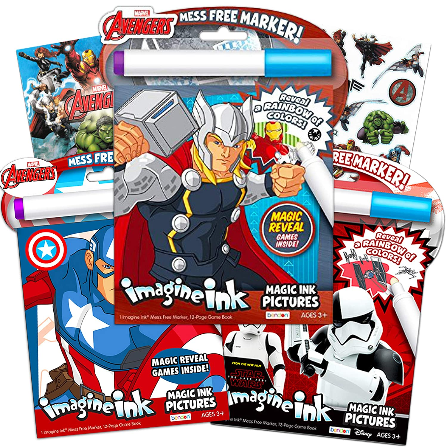 Imagine Ink Bundle of Magic Pictures Activity Books Set - Avengers and Star  Wars No Mess Books with Stickers (Mess Free Coloring Books for Toddlers ...