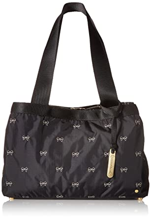 fa495506d2e8 Amazon.com: LeSportsac Mercer Tote, Petite Bows Black: Clothing