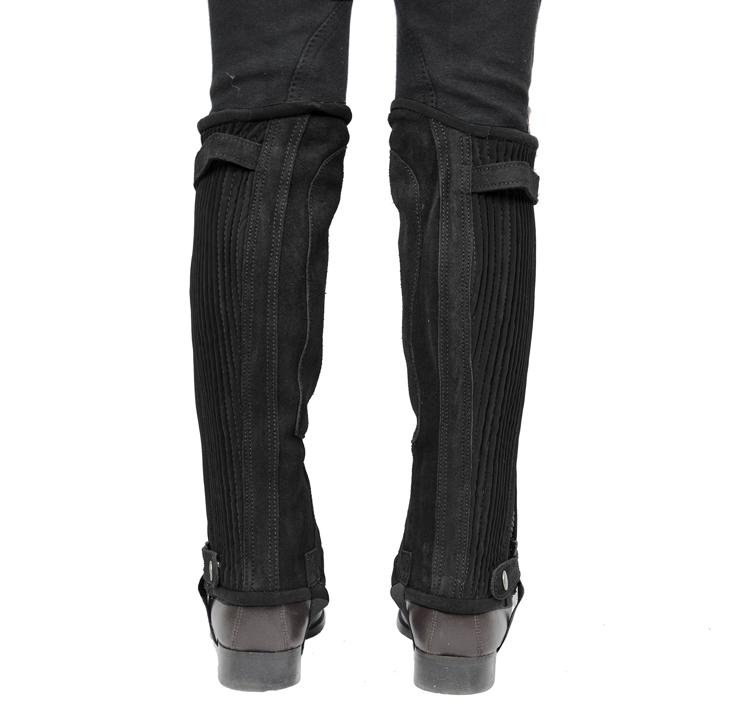 Derby Originals Kids Suede Leather Half Chaps Elastic & Zipper, Black, X-Small