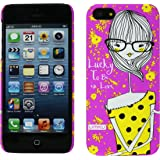 Heartly Cute Girl Printed Design High Quality Hybrid Tough Armor Hard Bumper Back Case Cover For Apple iPhone 4 4S 4G - Frame Purple