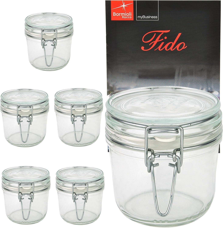 Vaso vasetto terrina in vetro per conserve anche per servire da 350 ml della Bormioli Rocco modello Fido chiusura ermetica confezione 6 pezzi