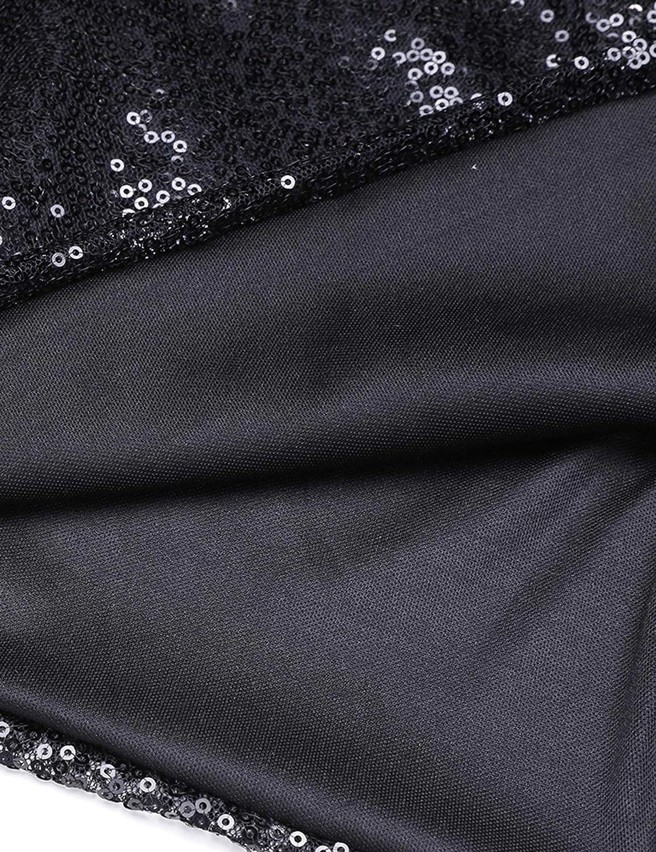 eshion Women's Slash Neck Sparkle Sequin Sexy Long Sleeve Club Dress