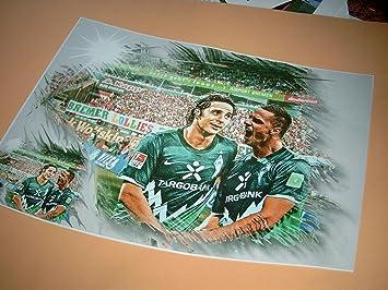 direkt vom K/ünstler 30cm x 42cm diverse Werder-Stars klasse Kunstdruck