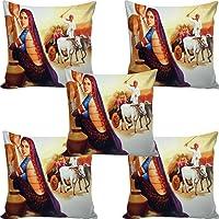 B7 Creations Digital Printed Jute Cushion Cover Set of 5 16x16 inches/40x40 cms