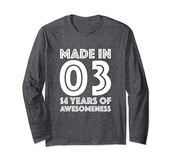 Unisex 14th Birthday Shirt Gift Age 14 Fourteen Year Old Boy Girl 2XL Dark Heather