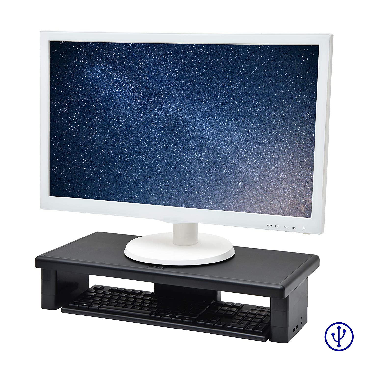 DAC STAX Ultrawide Adjustable, Stackable Desktop Computer Monitor Stand Laptop Riser with 2 USB Charging Ports, Supports up to 66 Pounds, with Keyboard Storage