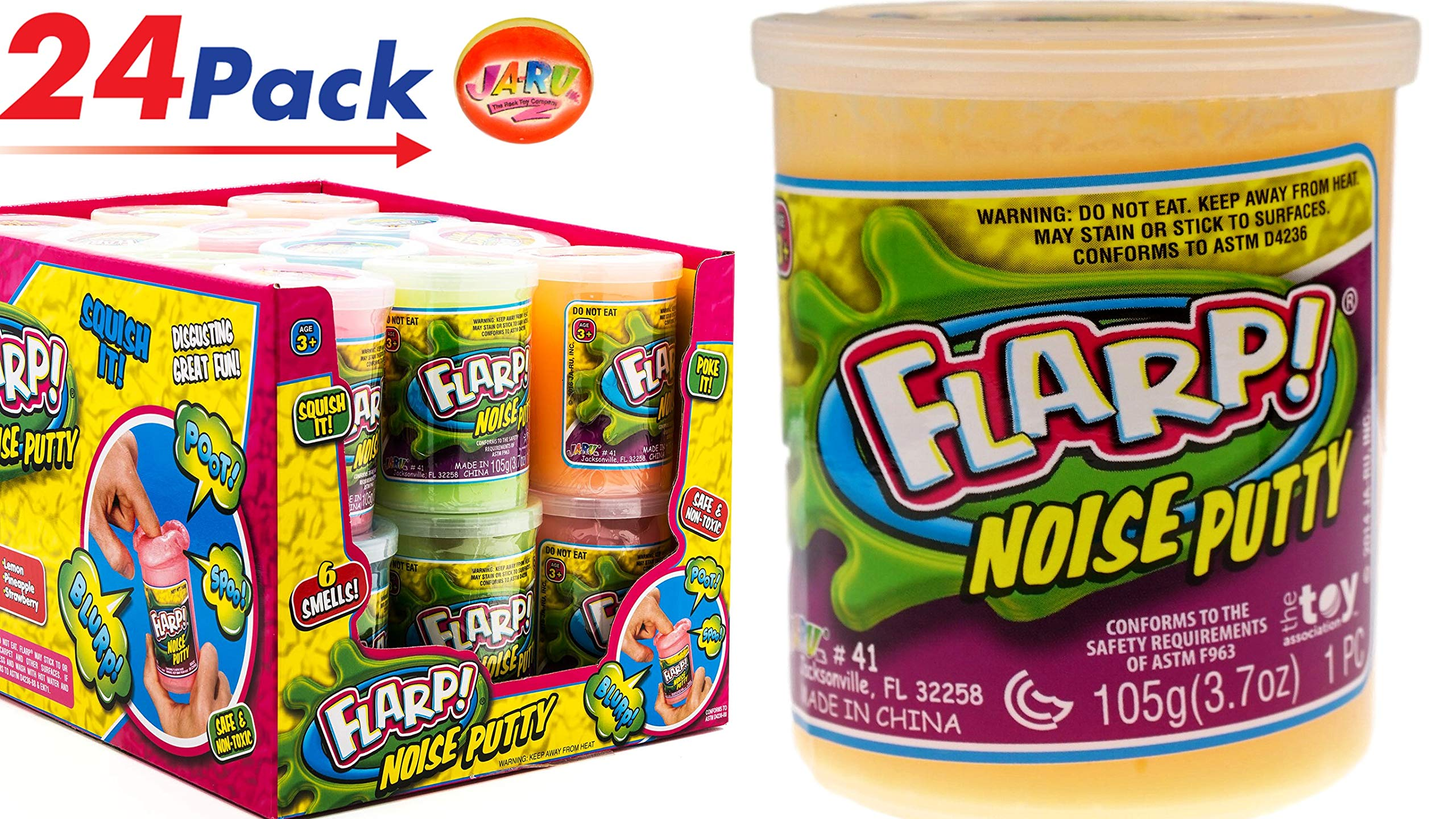 JA-RU FLARP Noise Putty Fart (Pack of 24 Units in Display Box) Plus 1 Bouncy Ball Squish to Make Farting Sounds | Item #10041-24