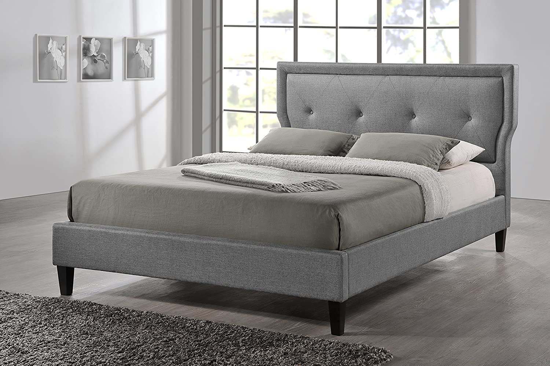 Amazon.com: Baxton Studio Marquesa Fabric Upholstered Platform Bed ...