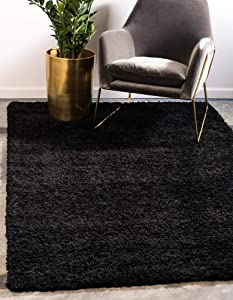 Unique Loom Solo Solid Shag Collection Modern Plush Jet Black Area Rug (9' x 12')