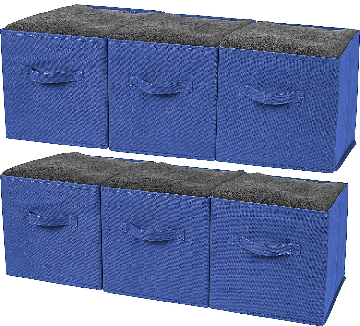 Greenco Foldable Storage Cubes Non-woven Fabric -6 Pack-(Royal Blue)