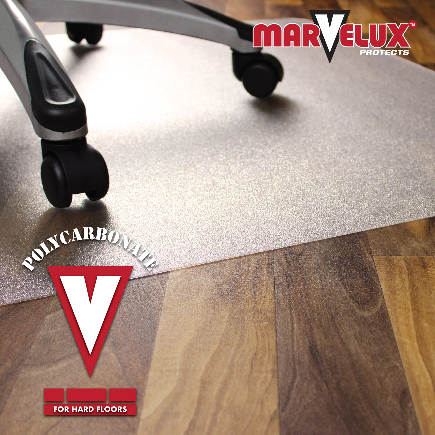 Marvelux 48'' x 60'' Heavy Duty Polycarbonate (PC) Rectangular Chair Mat for Hard Floors | Transparent Hardwood Floor Protector | Multiple Sizes by Marvelux (Image #2)