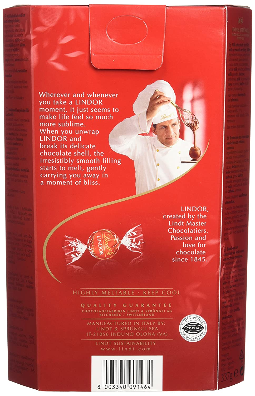 Lindt lindor milk chocolate cornet 337 g pack of 2 : amazon.co.uk