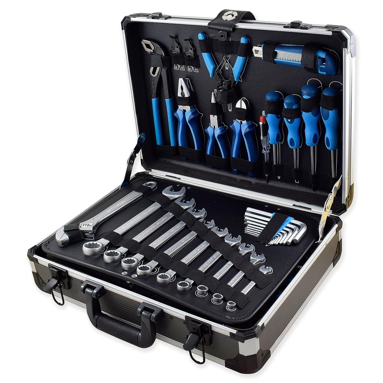 Ferrestock FSKJH176 Maletín profesional de aluminio reforzado con juego de herramientas, 176 piezas: Amazon.es: Bricolaje y herramientas