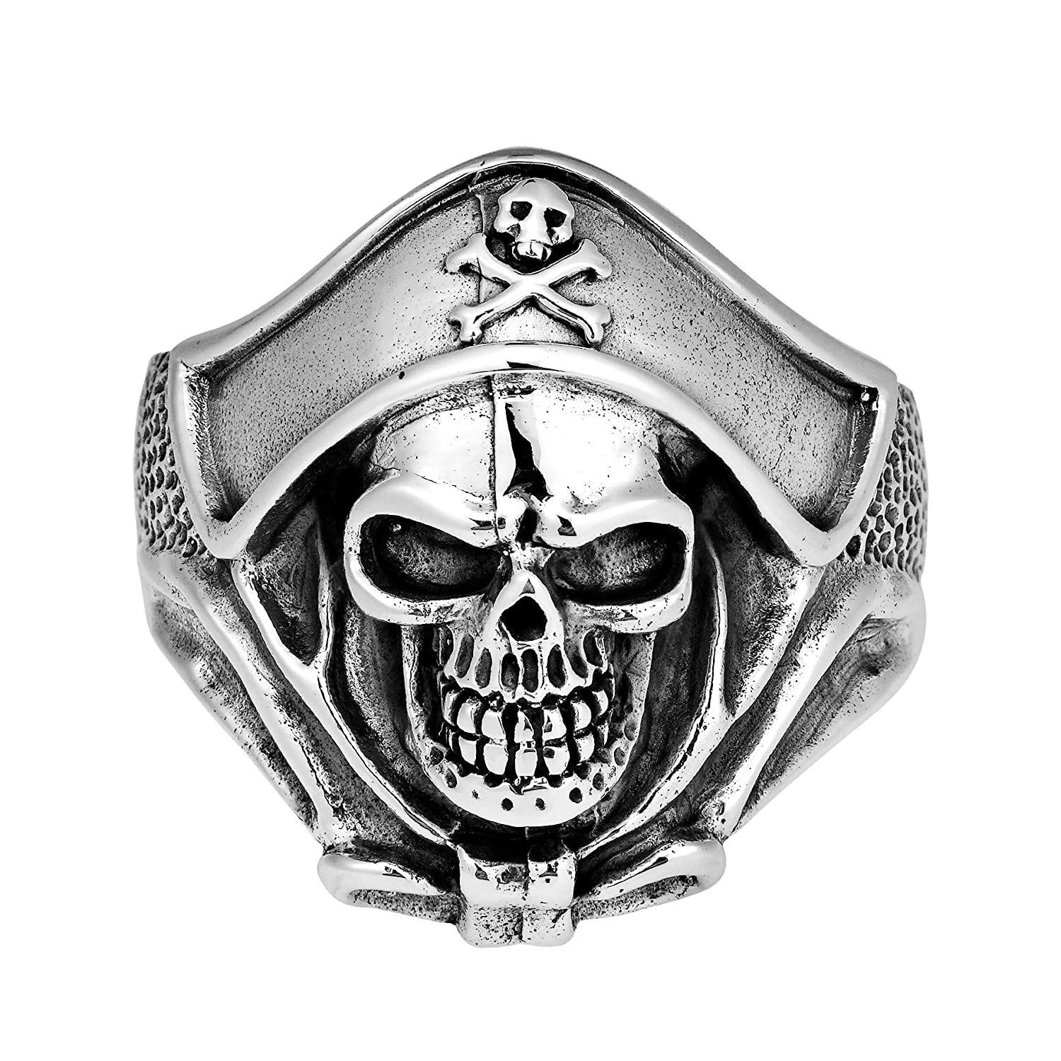 Sterling Silver Men's Buccaneer Pirate Skull Ring - DeluxeAdultCostumes.com