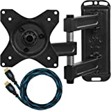 """Cheetah Mounts ALAMB Articulating Arm (15"""" Extension) TV Wall Mount Bracket for 12-24"""" TVs and Displays up to VESA 100 and up to 40lbs, Including a 10' Twisted Veins HDMI Cable"""