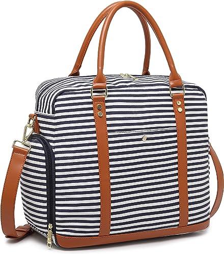 Women Ladies Canvas Weekender Bag Overnight Carry-on Tote Duffel