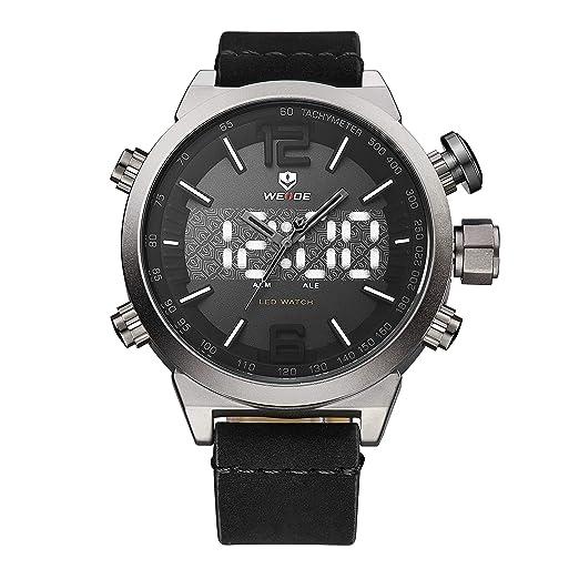 Reloj analógico de Cuarzo WEIDE para Hombre con Pantalla LED Dual de visualización de la Hora