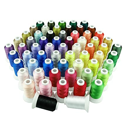 Simthread 63 Spool Brother Colours Polyester Machine Embroidery Thread for  Babylock Janome Singer Pfaff Husqvarna Bernina Embroidery and Sewing