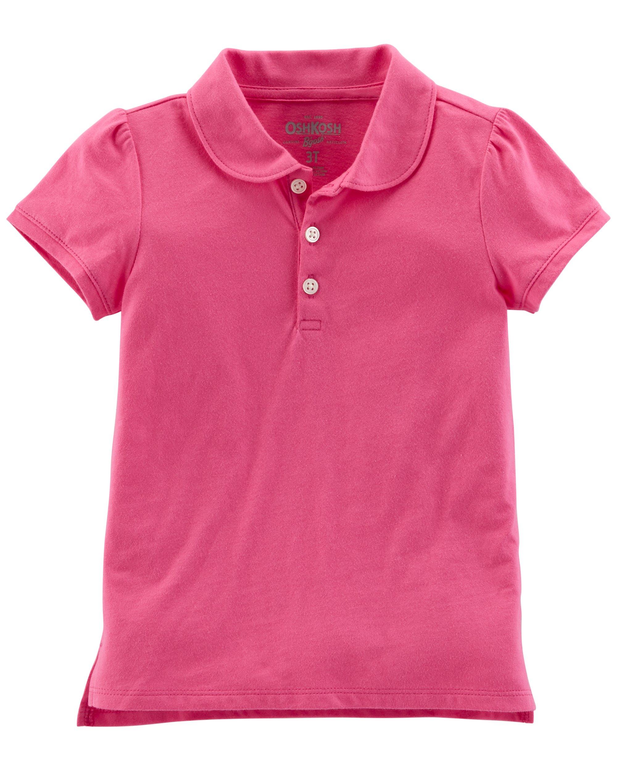 Osh Kosh Girls' Short Sleeve Uniform Polo, Bright Pink, 6-6X