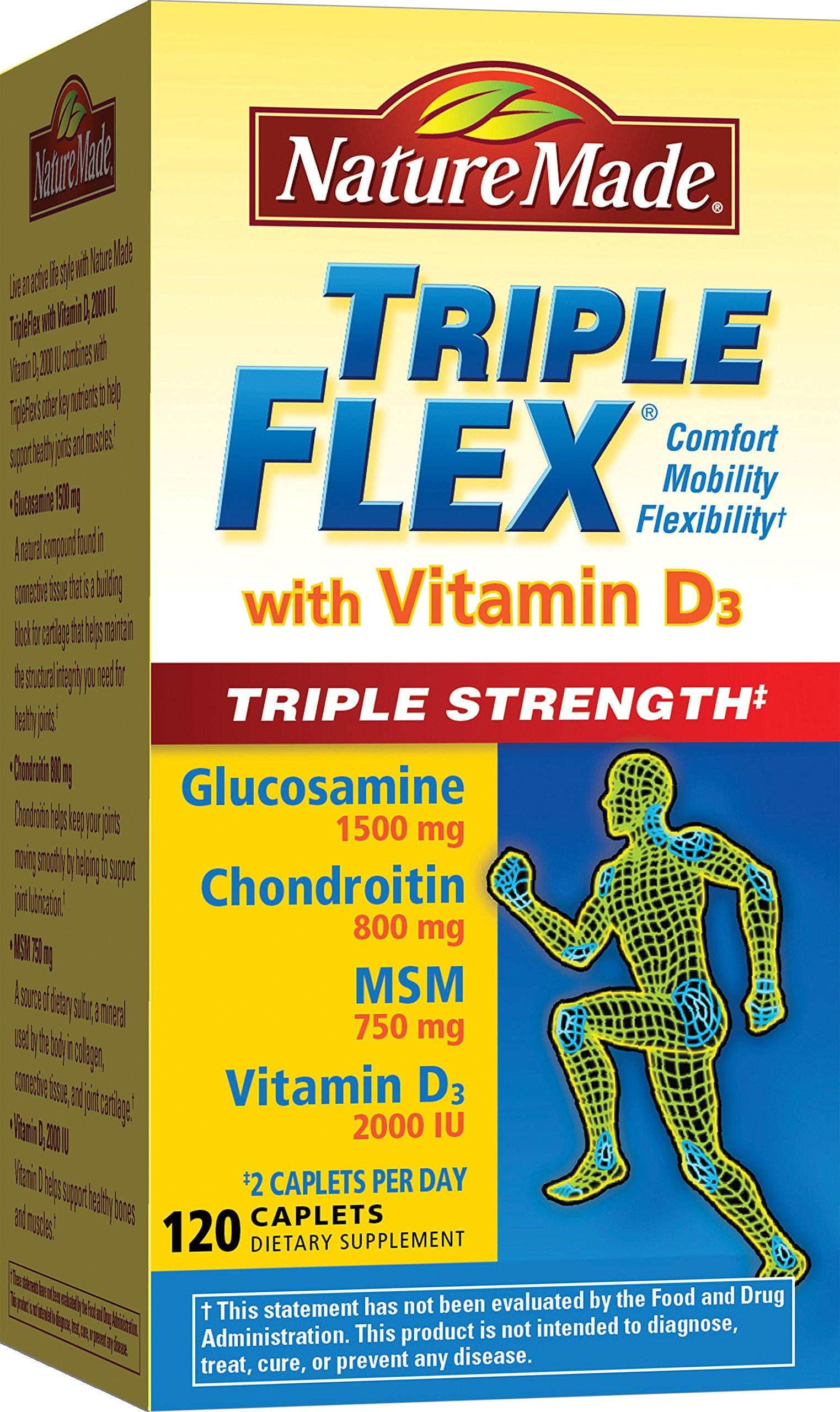 Nature Made TripleFlex Triple Strength with Vitamin D3 Caplet (Glucosamine Chondroitin MSM)  120 ct
