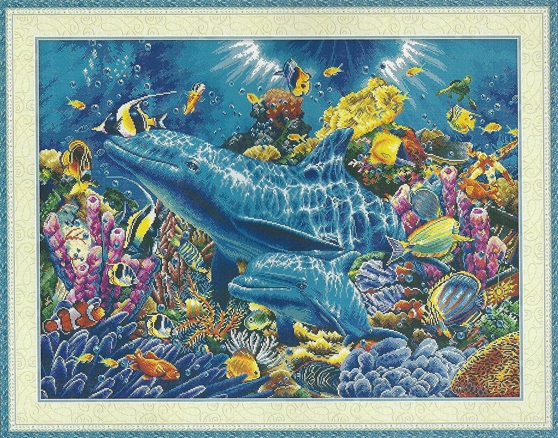Dolphins of the Ocean 海のイルカ クロスステッチ 刺繍キット世界名作劇場 世界のおとぎ話 14カウント白 73cm * 54cm B0776GGN73