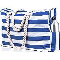 Beach Bag XXL (Huge). 100% Waterproof. L22 xH15 xW6 (56x38x15cm). Rope Handles, Top Zipper, Outside Pockets. Shoulder…