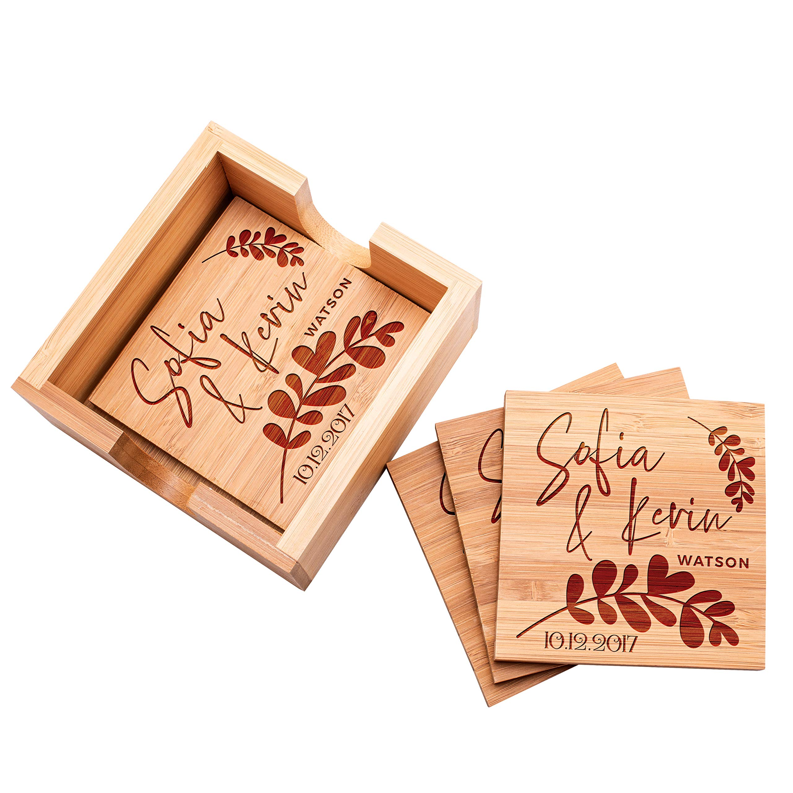 Be Burgundy - Personalized Name Coaster with Holder - 4 pcs Bamboo 4'' x 4'' Square Personalized Coasters - FREE ENGRAVING - Bamboo Coasters for Drinks with Holders - 2