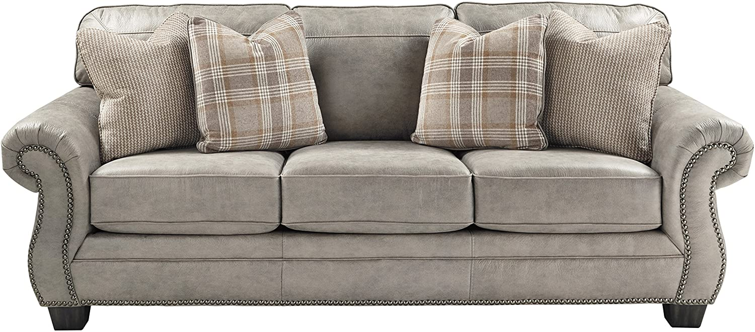 Signature Design by Ashley - Olsberg Traditional Sofa w/ Nailhead Trim and 4 Accent Pillows, Steel Gray